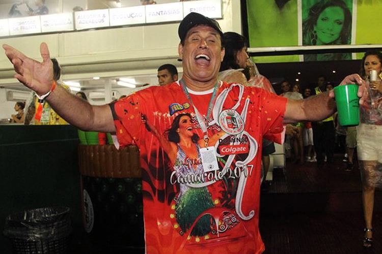 O humorista Sérgio Mallandro no camarote do Sambódromo da Marquês de Sapucaí, no Rio de Janeiro (RJ) - 26/02/2017