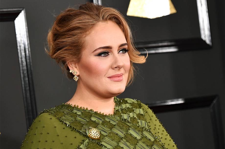 A cantora Adele chega para a cerimônia da 59ª edição do Grammy no Staples Center, em Los Angeles, nos Estados Unidos - 12/02/2017