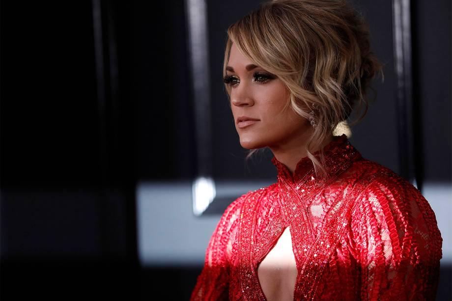 A cantora Carrie Underwood durante a cerimônia da 59ª edição do Grammy no Staples Center, em Los Angeles, nos Estados Unidos - 12/02/2017