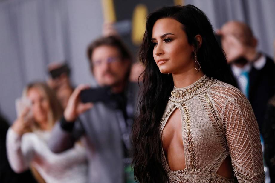 Demi Lovato durante a cerimônia da 59ª edição da maior premiação da música no Staples Center, em Los Angeles, nos Estados Unidos - 12/02/2017