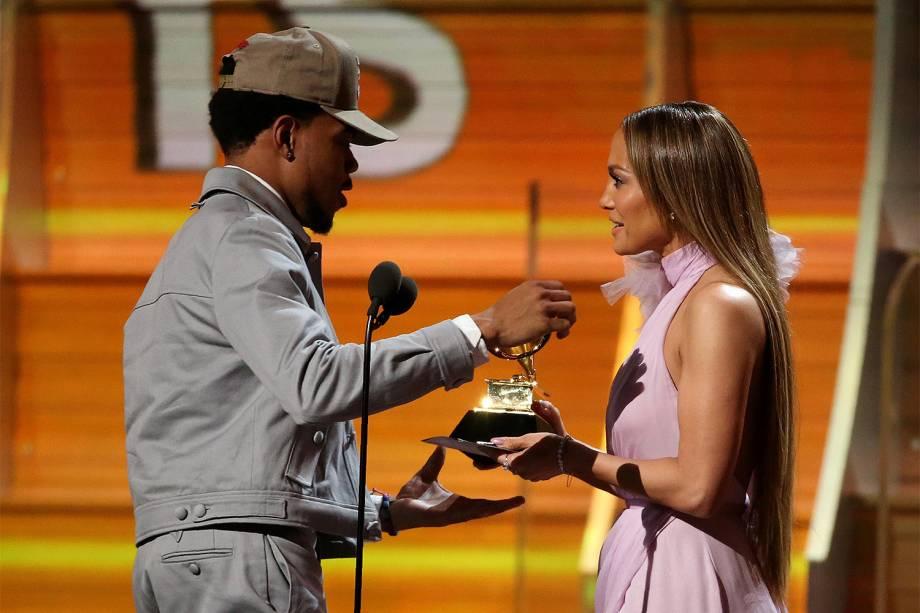 A cantora Jennifer Lopez durante a cerimônia da 59ª edição da maior premiação da música no Staples Center, em Los Angeles, nos Estados Unidos - 12/02/2017