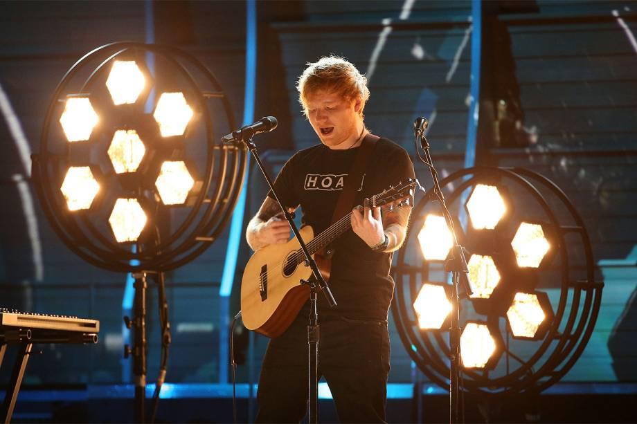 Ed Sheer durante a cerimônia da 59ª edição do Grammy no Staples Center, em Los Angeles, nos Estados Unidos - 12/02/2017