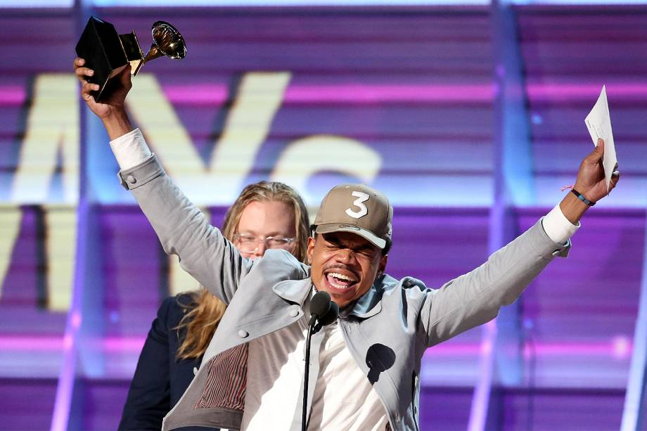 Chance the Rapper durante a cerimônia da 59ª edição do Grammy no Staples Center, em Los Angeles, nos Estados Unidos - 12/02/2017