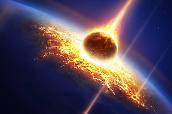 Asteróide colidindo com a Terra