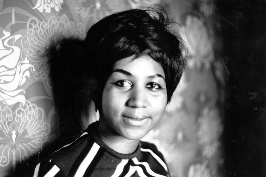 A cantora soul americana Aretha Franklin, em 1968