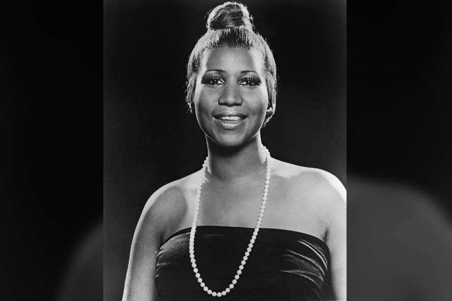 Retrato da cantora Aretha Franklin, em 1977