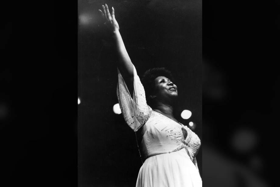 A cantora americana Aretha Franklin, em 1980