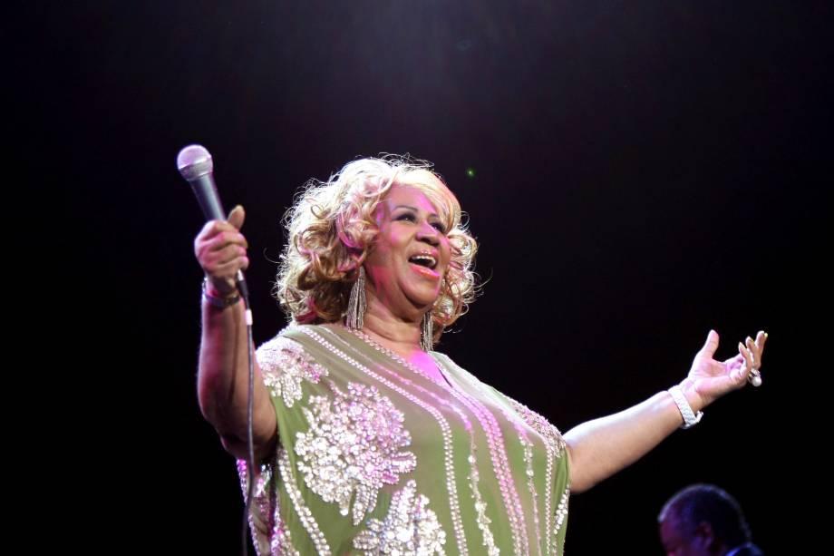Aretha Franklin durante apresentação em Nova York, em 2012