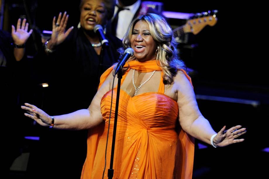Aretha Franklin durante apresentação em Los Angeles, na Califórnia, em 2012