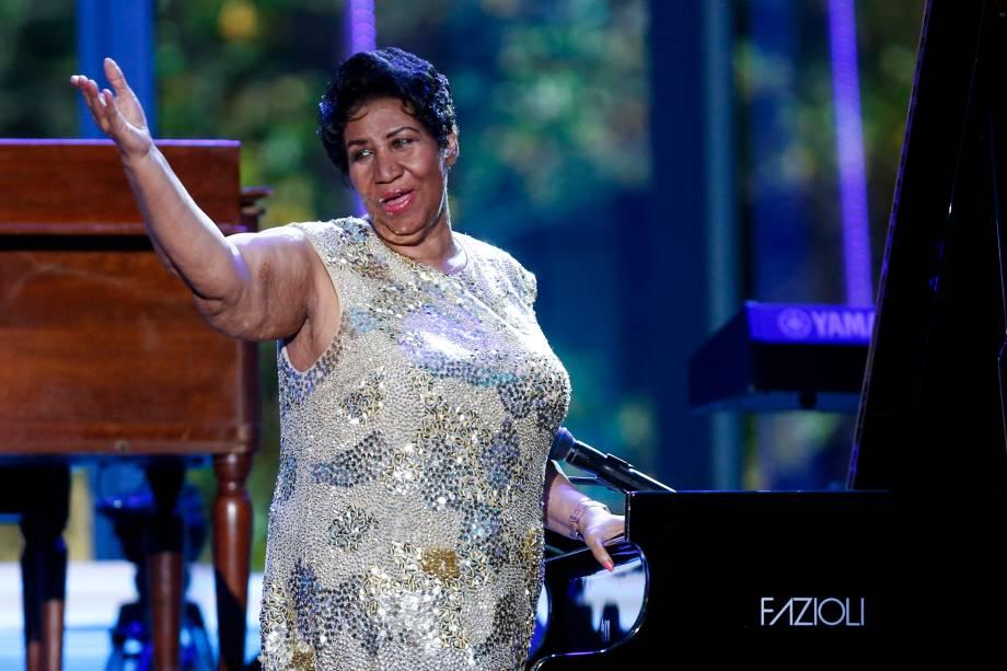 Aretha Franklin, em abril de 2016, durante as comemorações do Dia do Jazz