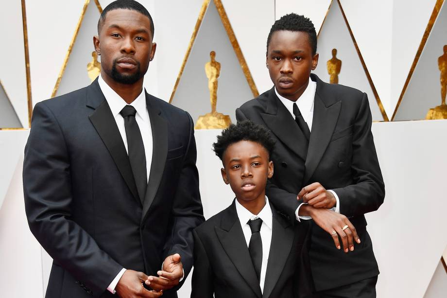 Trevante Rhodes, Alex R. Hibbert e Ashton Sanders do filme 'Moonlight: Sob a Luz do Luar' chegam para a cerimônia do Oscar em Hollywood - 26/02/2017