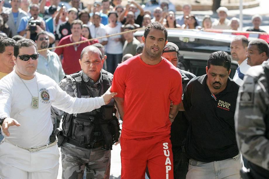 O ex-goleiro do Flamengo Bruno Fernandes, chega ao DI, Departamento de Investigações, em Belo Horizonte, em 2010