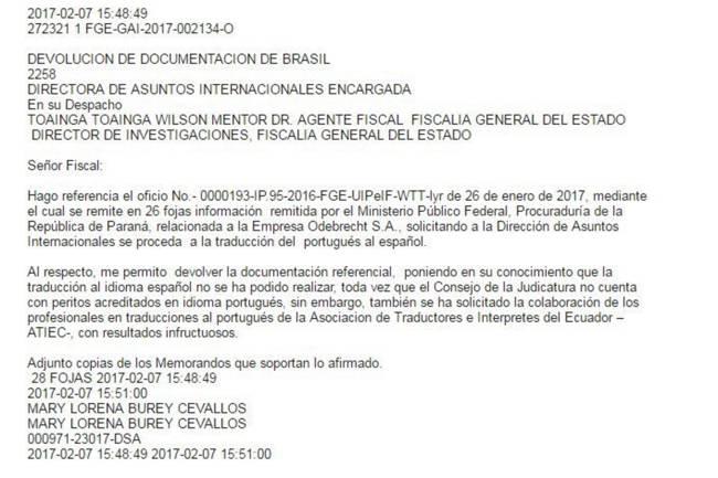 """Documento revela que a Procuradoria-Geral do Equador ignorou documentos por """"falta de tradução para o espanhol"""""""