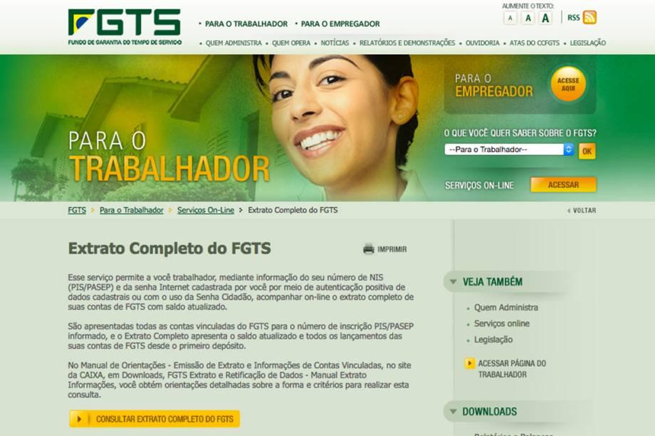 """Um dos caminhos para cadastrar a senha é entrar na página de <a href=""""http://www.fgts.gov.br/trabalhador/servicos_online/extrato_fgts.asp"""">consulta ao extrato do FGTS</a>"""