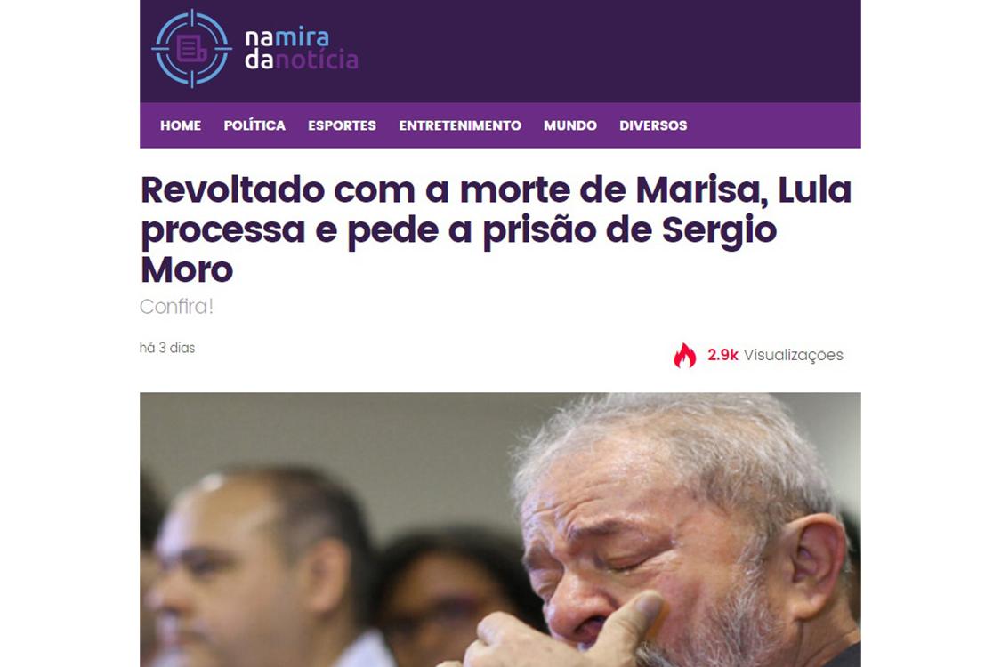 Notícias falsas sobre a morte de Marisa Letícia Lula da Silva