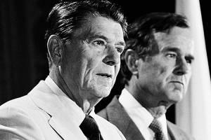 Os ex-presidentes George H. W. Bush (pai) e Ronald Reagan