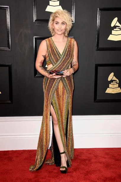 Paris Jackson durante a cerimônia da 59ª edição do Grammy no Staples Center, em Los Angeles, Estados Unidos - 12/02/2017