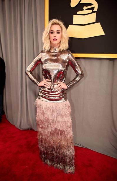 A cantora Katy Perry durante o Grammy 2017 no Staples Center, em Los Angeles