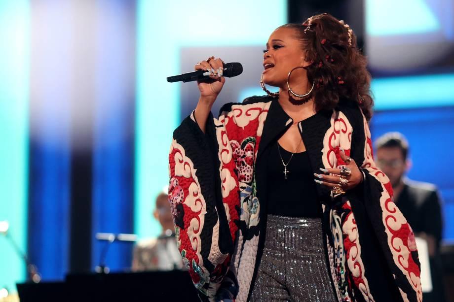 A cantora Andra Day durante a cerimônia da 59ª edição do Grammy no Staples Center, em Los Angeles, nos Estados Unidos - 12/02/2017