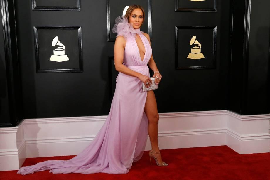 Jennifer Lopez durante a cerimônia da 59ª edição da maior premiação da música no Staples Center, em Los Angeles, nos Estados Unidos - 12/02/2017