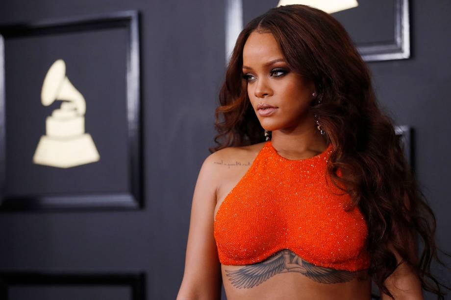 Rihanna durante a cerimônia da 59ª edição da maior premiação da música no Staples Center, em Los Angeles, nos Estados Unidos - 12/02/2017