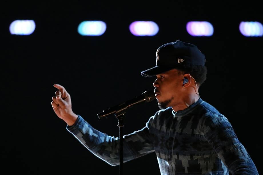 Chance, the Rapper durante a cerimônia da 59ª edição do Grammy no Staples Center, em Los Angeles, nos Estados Unidos - 12/02/2017