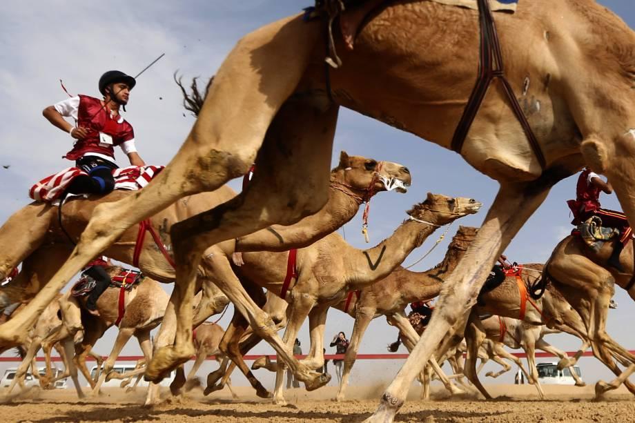 Jóqueis competem na tradicional corrida do festival de camelos Sheikh Sultan Bin Zayed al-Nahyan, que ocorre na periferia de Abu Dhabi, capital dos Emirados Árabes Unidos - 10/02/2017