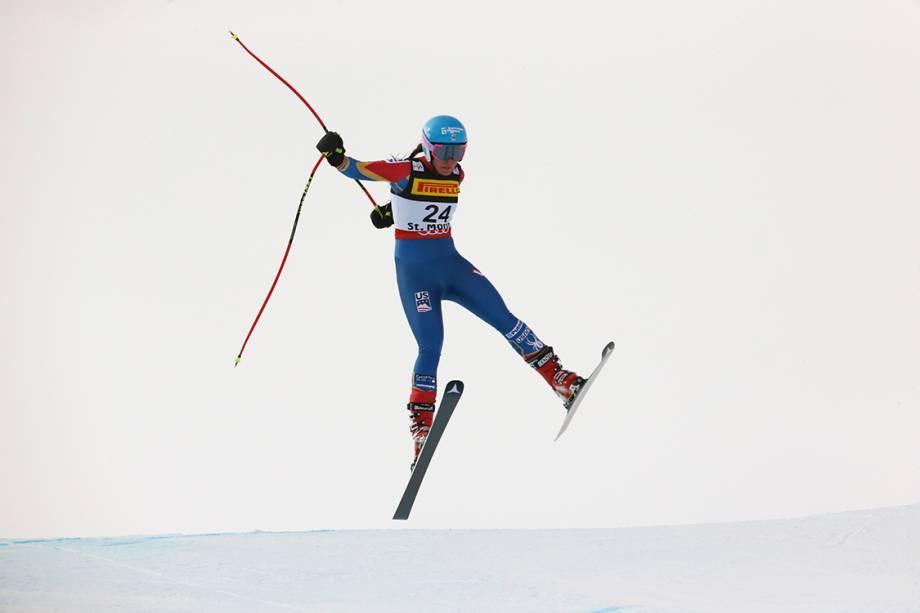 Esquiadora americana Breezy Johnson compete no campeonato mundial de esqui em St. Moritz, na Suiça - 07/02/2017