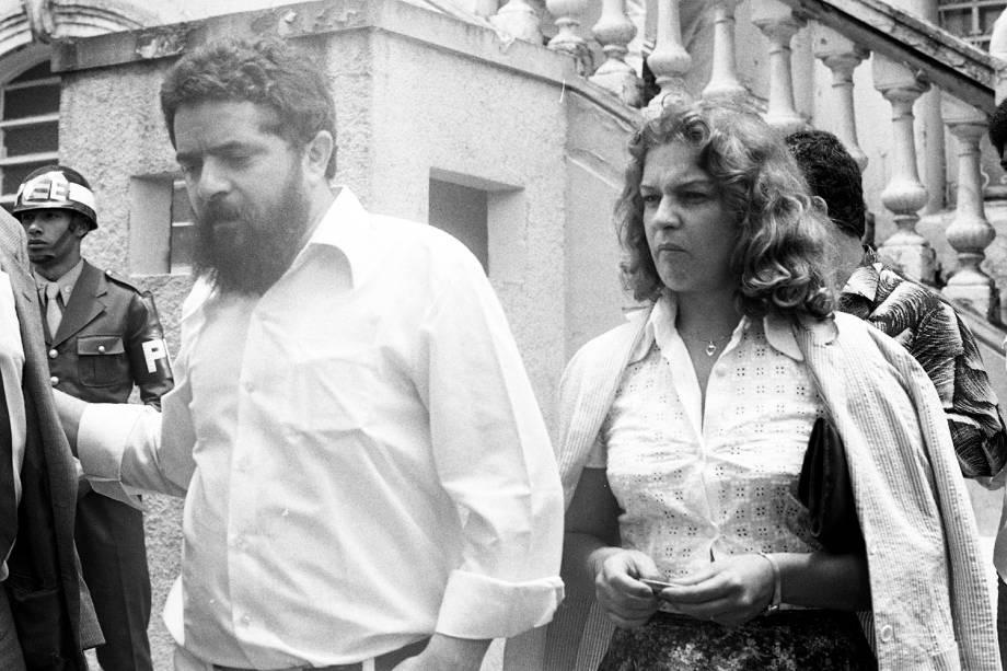 O então metalúrgico e líder sindical Lula, ao lado de Marisa, em 1981, durante a ditadura militar