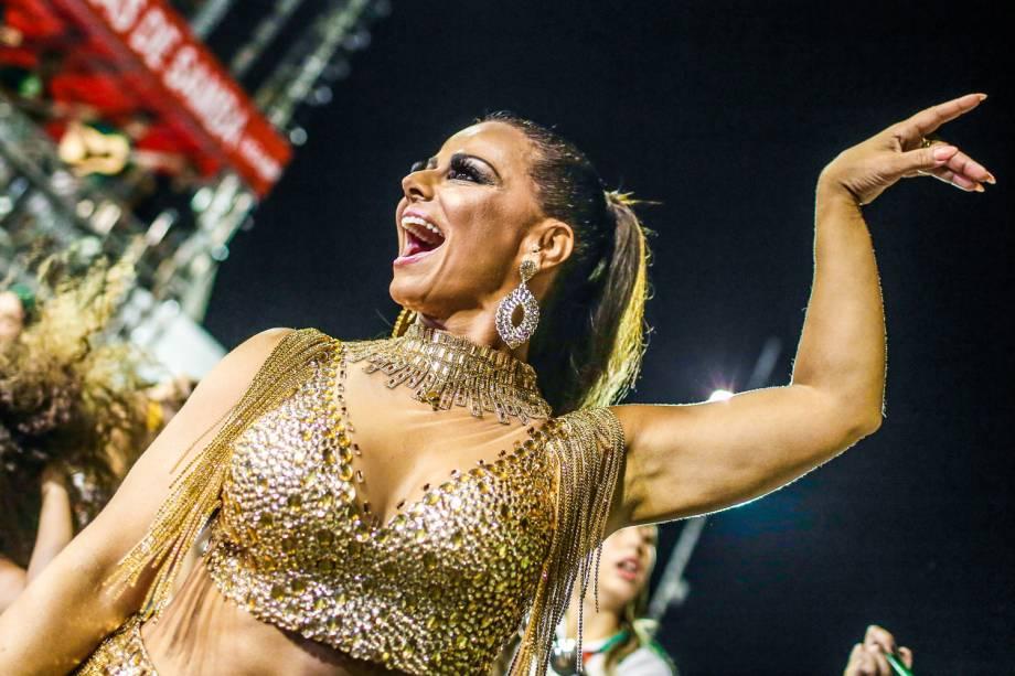 Viviane Araújo durante ensaio técnico da Mancha Verde para o Carnaval 2017, no Sambódromo do Anhembi, em São Paulo