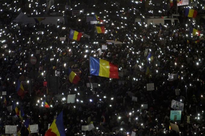 Manifestação contra o governo na Romênia
