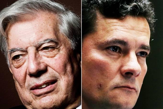 O escritor peruano Mario Vargas Llosa e o juiz federal Sergio Moro