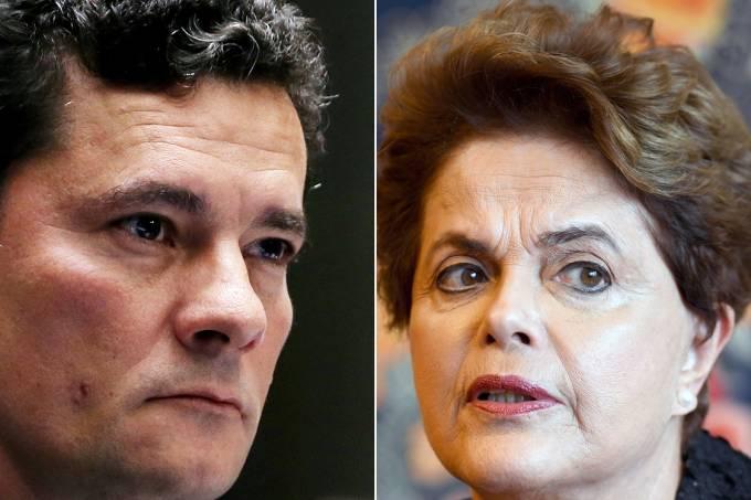 Montagem – O juiz federal Sergio Moro e a ex-presidente Dilma Rousseff (PT)