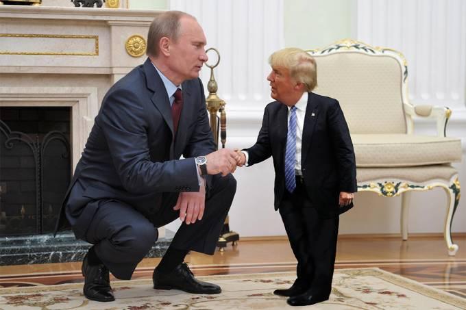 Montagem com os presidentes Vladimir Putin e Donald Trump