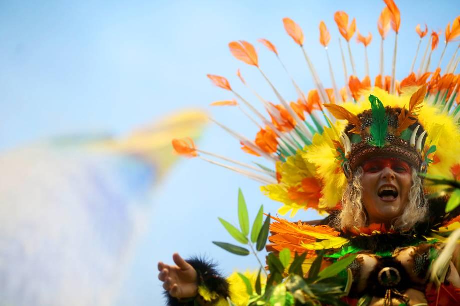 Com o enredo 'Ópera de Todos os Povos, Terra de Todas as Gentes, Curitiba de Todos os Sonhos', a escola de samba Nenê de Vila Matilde desfila no Sambódromo do Anhembi, em São Paulo - 26/02/2017