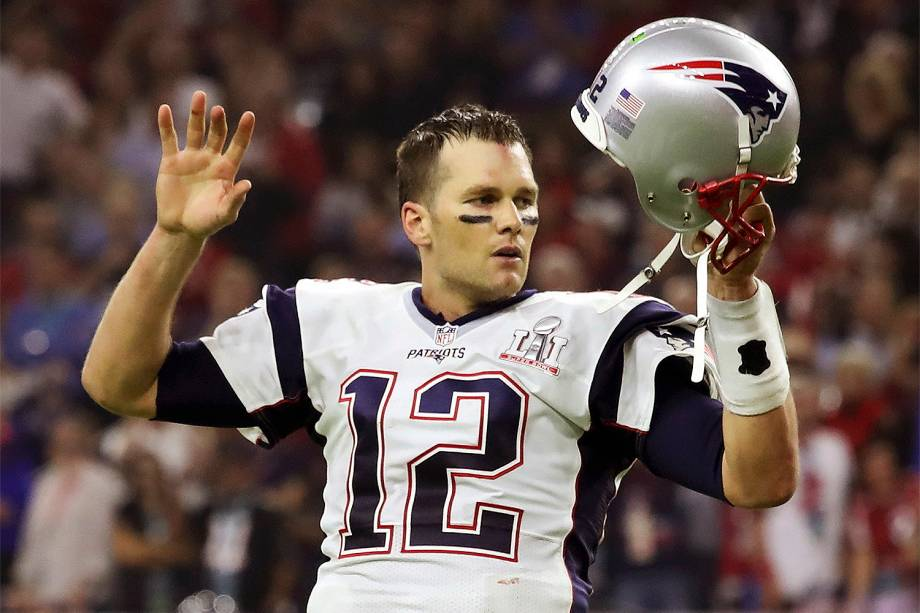 Tom Brady do New England Patriots contra Atlanta Falcons durante a final da 51ª edição do Super Bowl - 05/02/2017