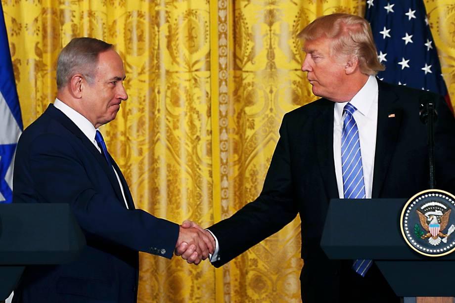 O presidente dos Estados Unidos, Donald Trump, encontra o primeiro-ministro de Israel Benjamin Netanyahu em Washington, DC - 15/02/2017