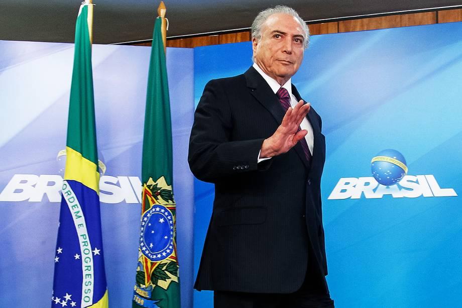 O presidente Michel Temer no anúncio da liberação de milho dos estoques governamentais para venda a criadores e agroindústrias de pequeno porte do nordeste, em Brasília, DF - 15/02/2017