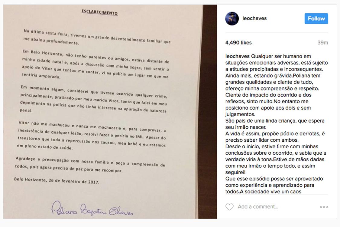 Leo, que faz dupla com Victor, faz post em apoio ao irmão no Instagram