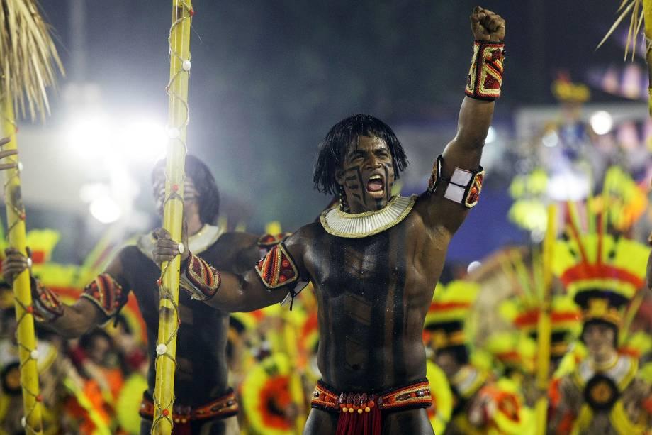 Com o enredo ' Xingu – o clamor que vem da floresta', a escola de samba Imperatriz Leopoldinense desfila no Sambódromo da Marquês de Sapucaí, no Rio de Janeiro (RJ) - 27/02/2017