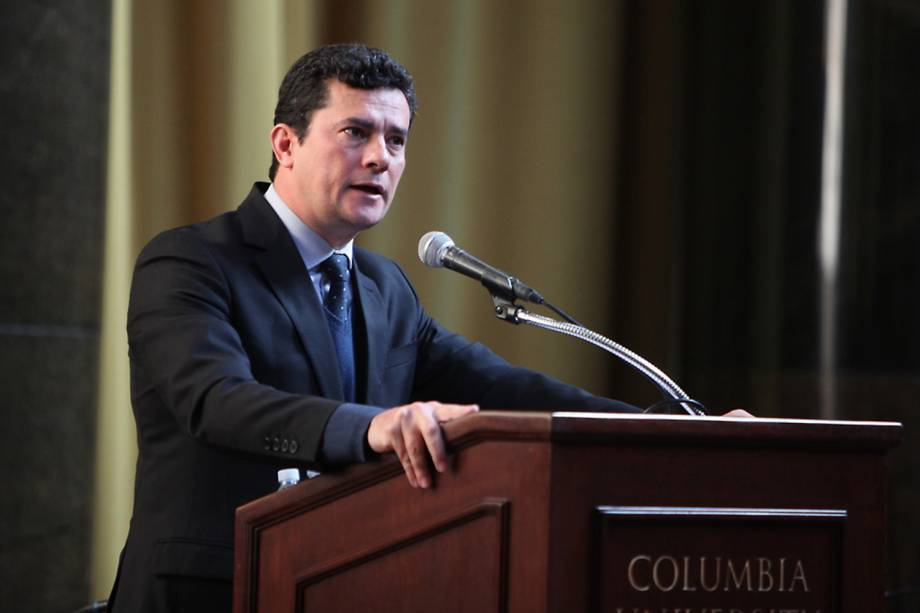 O juiz Sérgio Moro discursa durante evento na Universidade Columbia, em Nova York