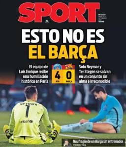 Jornal catalão Sport destacou a péssima atuação do Barcelona