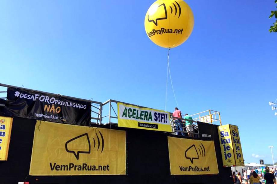 """O movimento social """"Vem Pra Rua"""" protesta contra o foro privilegiado, anistia do caixa 2 e em apoio a """"Operação Lava-Jato"""", entre outras pautas, no Rio de janeiro - 26/03/2017"""