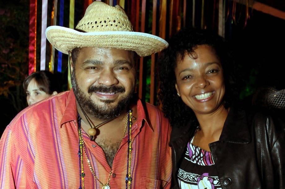 Arlindo Cruz e Maria Ceiça em festa junina na casa da cantora Alcione, no Recreio - 30/06/2008