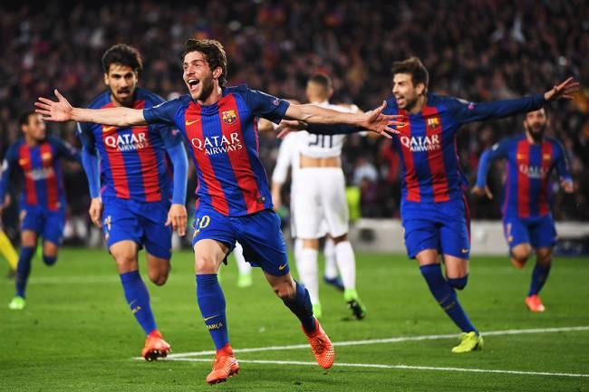 Barcelona comemora vitória contra PSG após virada histórica no Camp Nou, no Barcelona