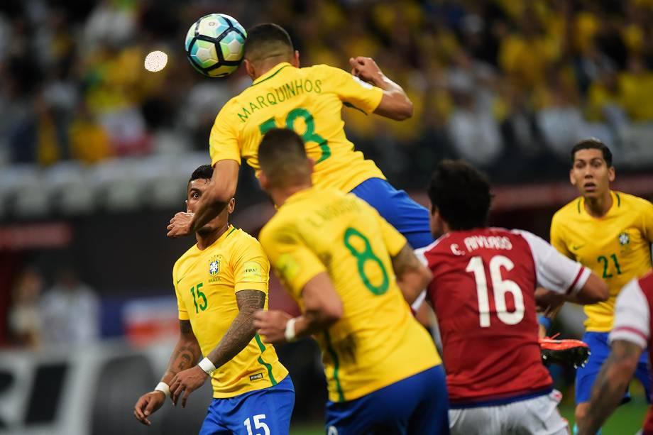Marquinhos durante partida entre Brasil e Paraguai válida pela 14ª rodada das Eliminatórias da Copa do Mundo Rússia 2018, na Arena Itaquera, em São Paulo - 28/03/2017