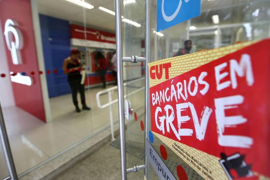 Agências bancárias ficam fechadas no centro do Rio de Janeiro. A paralisação de 24 horas é contra a reforma da Previdência proposta pelo governo Michel Temer e em discussão no Congresso Nacional - 15/03/2017
