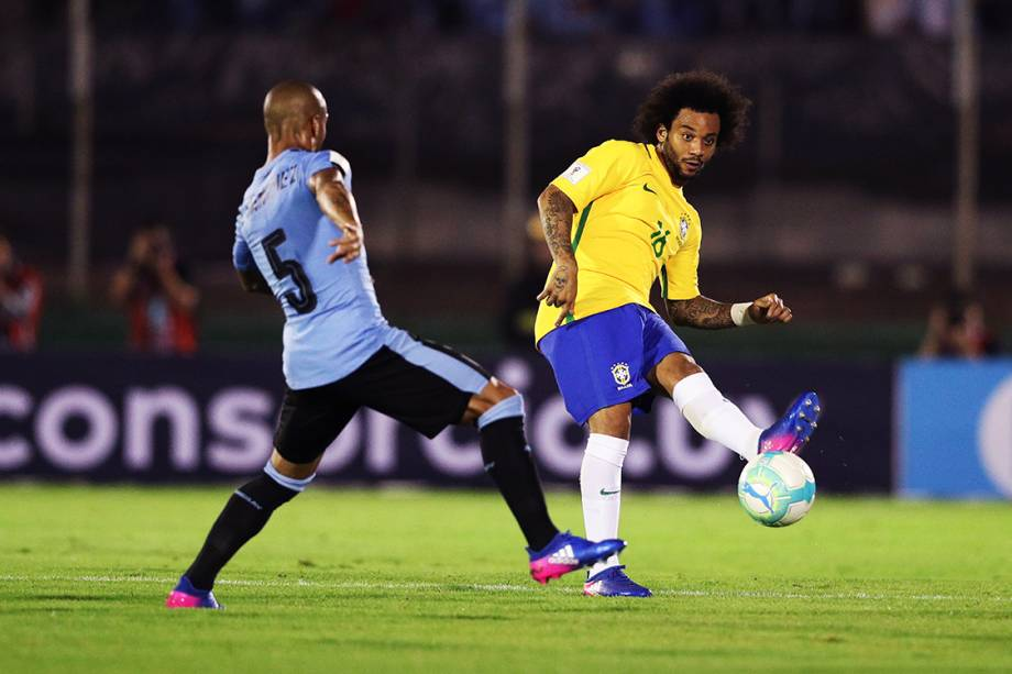 Marcelo durante o jogo do Brasil contra o Uruguai pelas eliminatórias para a Copa da Russia de 2018, no Estádio Centenário em Montevidéu
