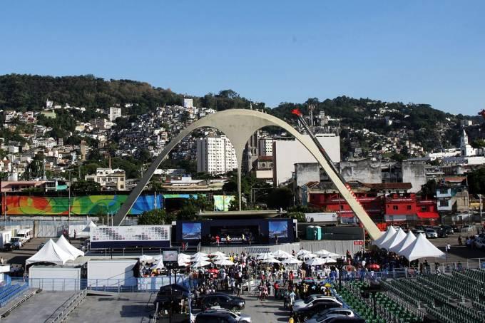 Vista da Marquês de Sapucaí, no centro do Rio de Janeiro, durante a apuração das notas do desfile das escolas de samba do Grupo Especial do carnaval carioca de 2017 – 01/03/2017