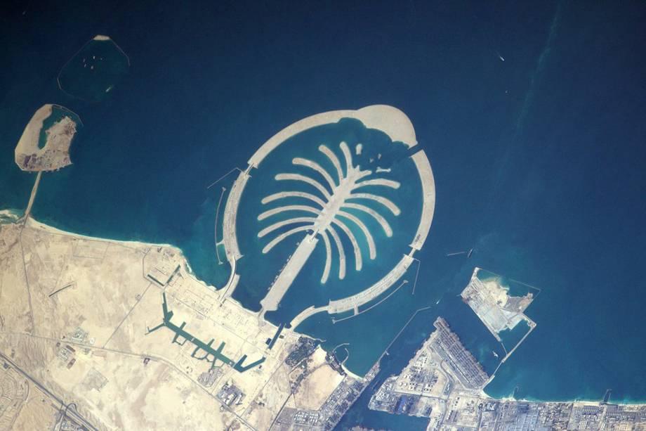 Fotode uma ilha artificial construída em Dubai, fotografada na última sexta-feira